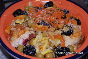 chicken or lamb tajine with dry friuts and olives (15)