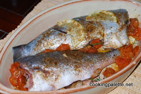 fish baked with tomatoes lemon and herbs (1)