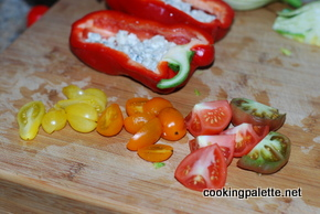 roasted peppers stuffed with bluecheese and tomatoes (3)
