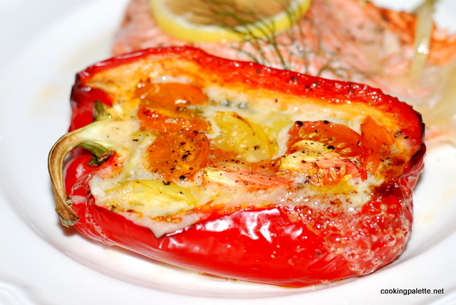 roasted peppers stuffed with bluecheese and tomatoes (9)