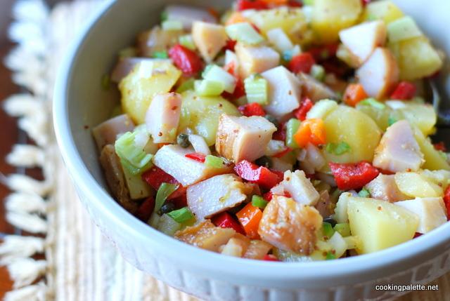 Салат из отварной рыбы с картофелем и луком