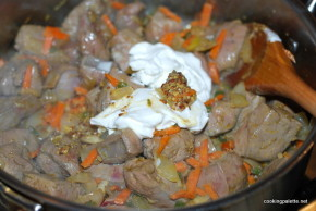 beef liver whole grain mustard sour cream sauce  (8)